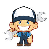 Mechanic holding a huge wrench. Clipart picture of a mechanic cartoon character holding a huge wrench royalty free illustration