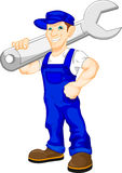 Mechanic holding a huge wrench vector illustration