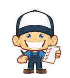 Mechanic holding pen and clipboard. Clipart picture of a mechanic cartoon character holding pen and clipboard Royalty Free Stock Photography