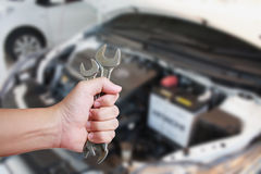 Mechanic Holding Spanner Royalty Free Stock Images
