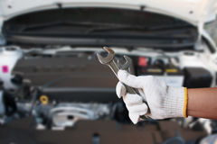 Mechanic Holding Spanner Royalty Free Stock Photos