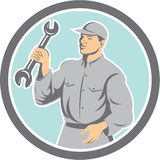 Mechanic Holding Spanner Wrench Circle Retro Royalty Free Stock Photo