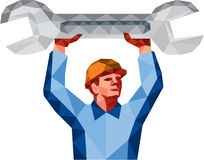 Mechanic Holding Spanner Wrench Low Polygon Royalty Free Stock Image
