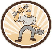 Mechanic Holding Spanner Wrench Toolbox Cartoon Royalty Free Stock Photography