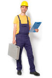 Mechanic holding toolbox ready to work isolated Royalty Free Stock Photos
