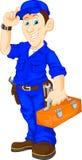 Mechanic holding utility box. Illustration of mechanic holding utility box Stock Photo