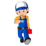 Mechanic holding utility box. Illustration of mechanic holding utility box Stock Photos