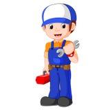 Mechanic holding utility box. Illustration of mechanic holding utility box Royalty Free Stock Photography