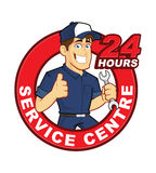 Mechanic 24 Hours Service Centre. Clipart picture of a mechanic cartoon character with 24 hours service centre Stock Photo