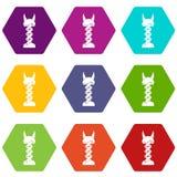 Mechanic icon set color hexahedron Royalty Free Stock Photo