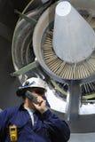 Mechanic and jet engine royalty free stock photos