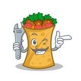 Mechanic kebab wrap character cartoon. Vector illustration royalty free illustration