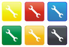 Mechanic key web button Royalty Free Stock Image