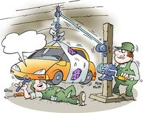 Mechanic lift the car with a homemade lift Royalty Free Stock Photos