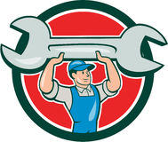 Mechanic Lifting Spanner Wrench Circle Cartoon Stock Photos