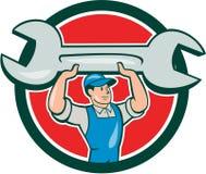 Mechanic Lifting Spanner Wrench Circle Cartoon Stock Photos