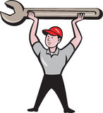 Mechanic Lifting Wrench Isolated Cartoon Royalty Free Stock Images
