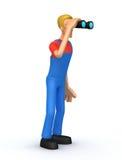 Mechanic looking through binoculars Royalty Free Stock Images