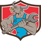 Mechanic Minotaur Bull Spanner Shield Cartoon Royalty Free Stock Photo