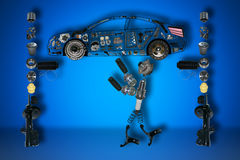 Mechanic of new parts Royalty Free Stock Photography