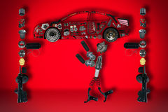Mechanic of new parts Stock Photography