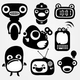 Mechanic ones. Multiple separated mechanic creatures silhouettes Royalty Free Illustration