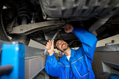 Mechanic in overalls working Stock Image