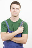Mechanic pincer. Portrait of a worker keeping a pincer Royalty Free Stock Photos