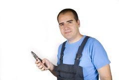 Mechanic with pliers Royalty Free Stock Photo