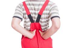 Mechanic or plumber having lumbar area pain Stock Photos