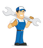 Mechanic or plumber holding a huge wrench. Clipart picture of a mechanic or plumber cartoon character holding a huge wrench Royalty Free Stock Photo