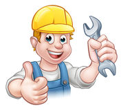Mechanic or Plumber with Spanner Stock Photo