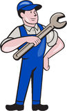 Mechanic Pointing Spanner Wrench  Cartoon Stock Photos