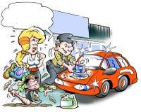 Mechanic polishes his car Stock Photo