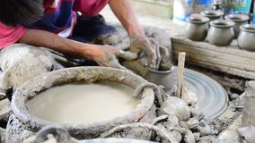 Mechanic pottery made earthenware at Koh Kret Island in Nonthaburi Thailand. Royalty Free Stock Photo