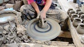 Mechanic pottery made earthenware at Koh Kret Island in Nonthaburi Thailand. Stock Photo