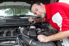 A Mechanic Pouring Brake Fluid Into A Master Cylinder Stock Image