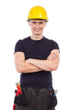 Mechanic in protective glasses and yellow hardhat Stock Photography