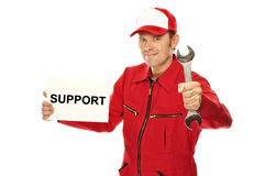 Mechanic in red Overall Royalty Free Stock Images