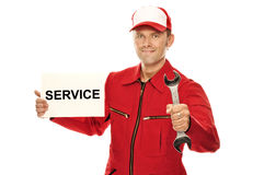 Mechanic in red Overall Stock Images