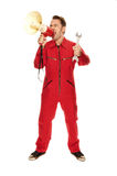 Mechanic in red Overall Royalty Free Stock Image