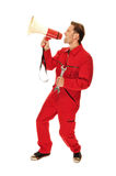 Mechanic in red Overall Stock Image