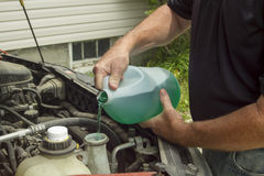 Mechanic Refilling Windshield Wiper Fluid In A Car Royalty Free Stock Images