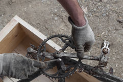 Mechanic repairing a bike, chainring and pedals Stock Photos