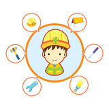 Mechanic repairman with job tool icons Royalty Free Stock Photo