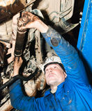 The mechanic repairs the car Stock Image