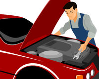 Mechanic repairs motor. Vector illustration of a mechanic repairs motor royalty free illustration