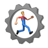 Mechanic running in Gear Wheel Stock Images