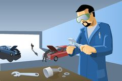 Mechanic's Workshop. Illustration of a mechanic working in his car repair workshop Royalty Free Illustration