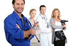 Mechanic, secretary, medic and hairdresser. Royalty Free Stock Image